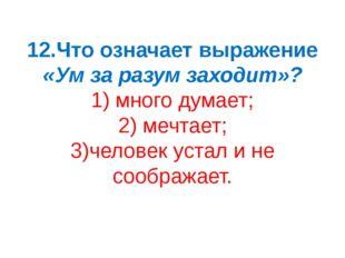 12.Что означает выражение «Ум за разум заходит»? 1) много думает; 2) мечтает;