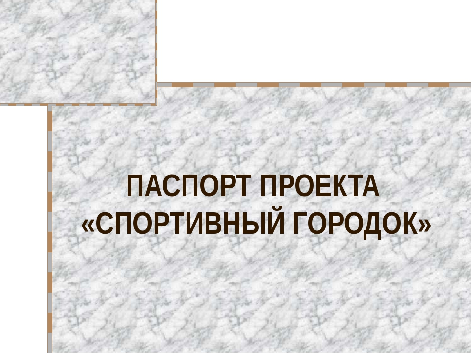 ПАСПОРТ ПРОЕКТА «СПОРТИВНЫЙ ГОРОДОК»