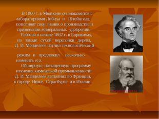 В 1860 г. в Мюнхене он знакомится с лабораториями Либиха и Штейнгеля, попо