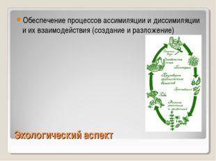 Экологический аспект Обеспечение процессов ассимиляции и диссимиляции и их вз