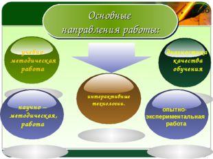 Основные направления работы: учебно- методическая работа диагностика качества