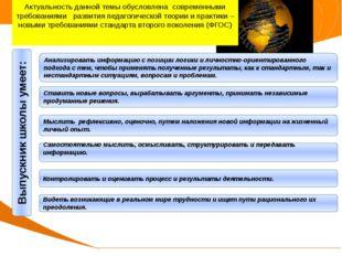 Актуальность опыта Выпускник школы умеет: Анализировать информацию с позиции