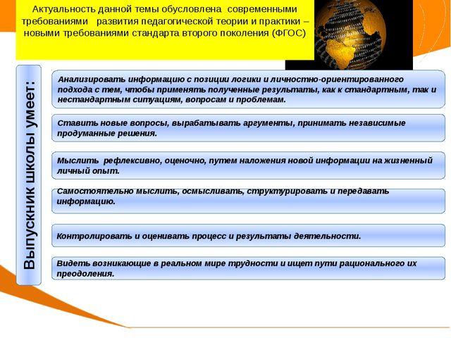 Актуальность опыта Выпускник школы умеет: Анализировать информацию с позиции...