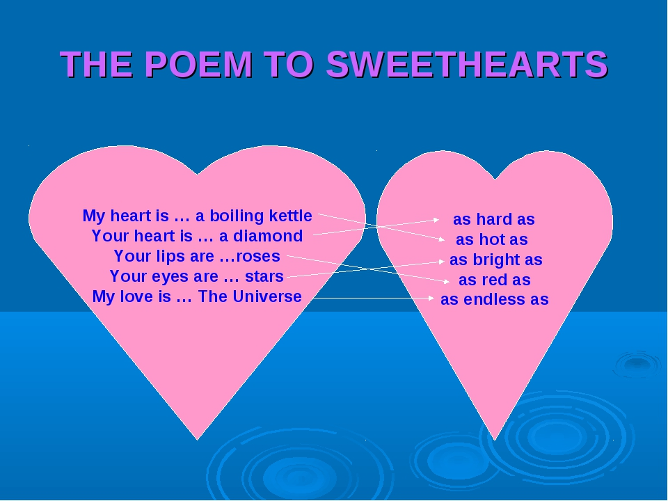 THE POEM TO SWEETHEARTS My heart is … a boiling kettle Your heart is … a diam...