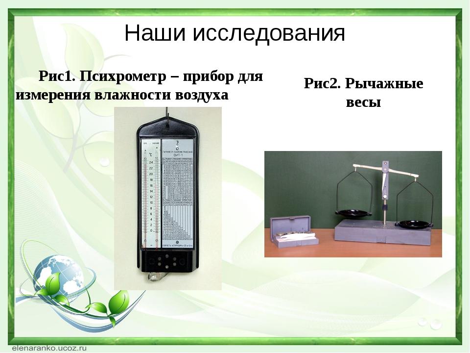 Наши исследования Рис1. Психрометр – прибор для измерения влажности воздуха...