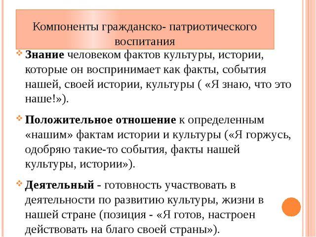 Компоненты гражданско- патриотического воспитания Знание человеком фактов кул...