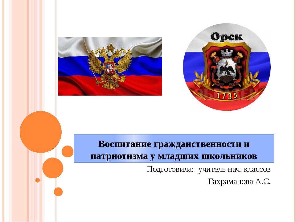 Воспитание гражданственности и патриотизма у младших школьников Подготовила:...