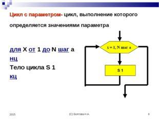 (С) Болгова Н.А. * 2015 Цикл с параметром- цикл, выполнение которого определя