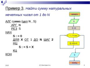 (С) Болгова Н.А. * 2015 Пример 3. Найти сумму натуральных нечетных чисел от 1