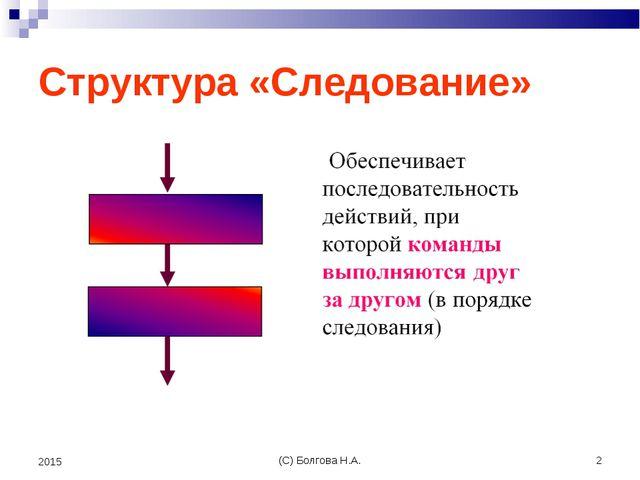 (С) Болгова Н.А. * 2015 Структура «Следование» (С) Болгова Н.А.