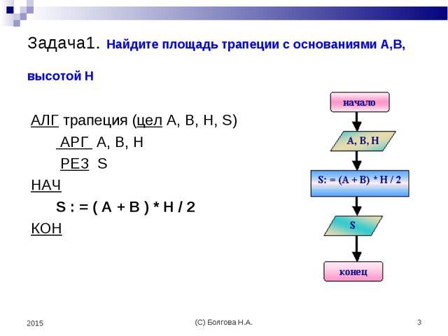(С) Болгова Н.А. * 2015 Задача1. Найдите площадь трапеции с основаниями A,B,...