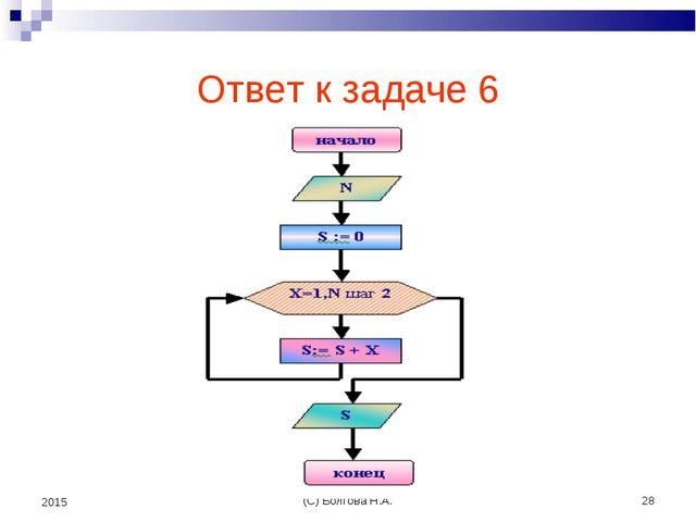 (С) Болгова Н.А. * 2015 Ответ к задаче 6 (С) Болгова Н.А.