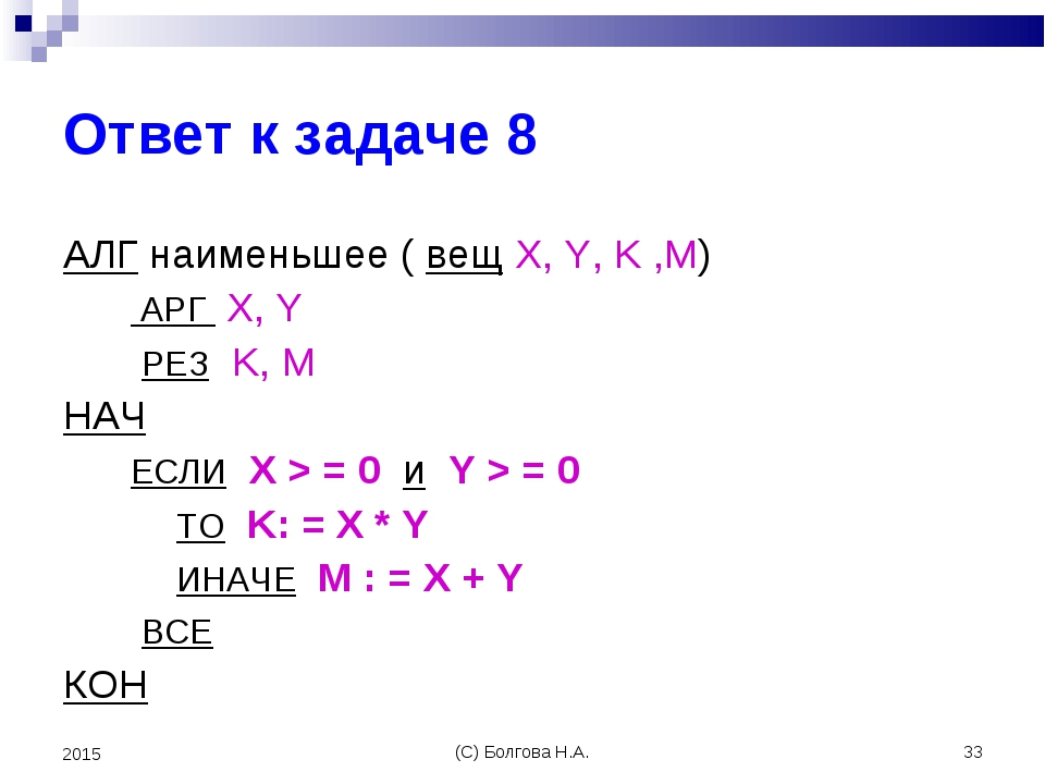 (С) Болгова Н.А. * 2015 Ответ к задаче 8 АЛГ наименьшее ( вещ X, Y, K ,M) АРГ...