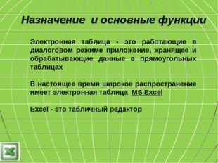 Назначение и основные функции Электронная таблица - это работающие в диалогов