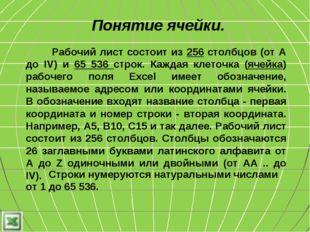 Понятие ячейки. Строки нумеруются натуральными числами от 1 до 65 536. Рабочи