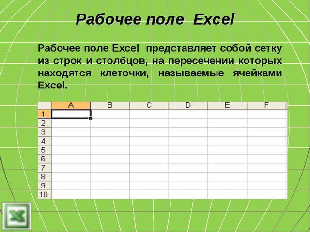 Рабочее поле Excel представляет собой сетку из строк и столбцов, на пересечен...
