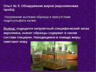 Опыт № 5. Обнаружение жиров (акролеиновая проба). Нагревание вытяжки образца