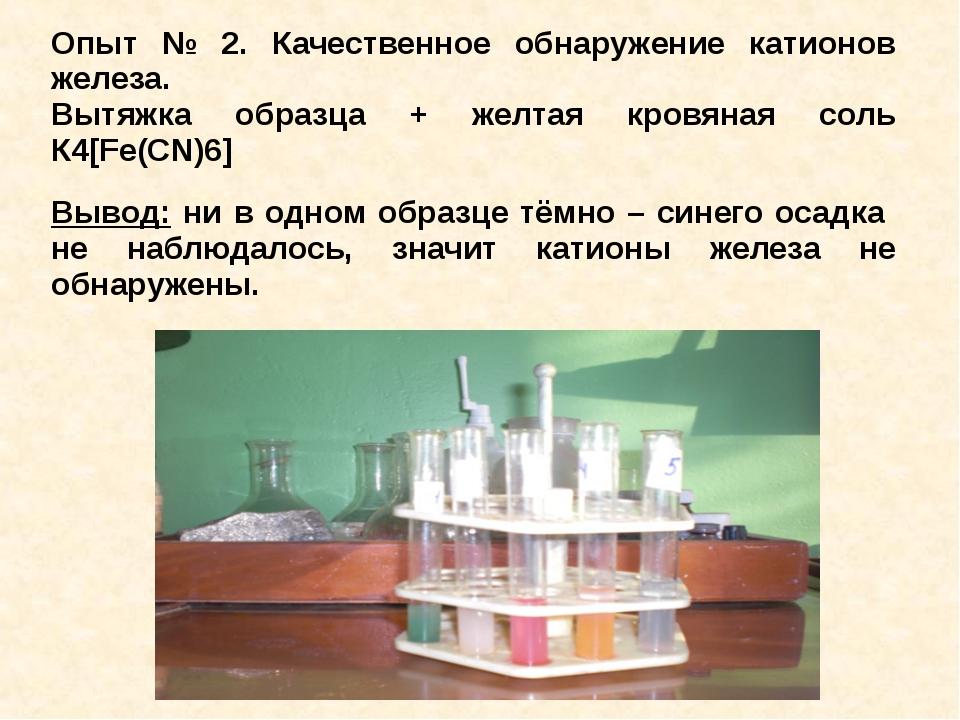 Опыт № 2. Качественное обнаружение катионов железа. Вытяжка образца + желтая...
