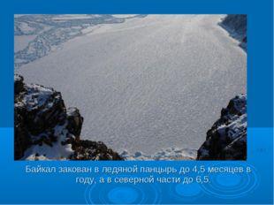 Байкал закован в ледяной панцырь до 4,5 месяцев в году, а в северной части до