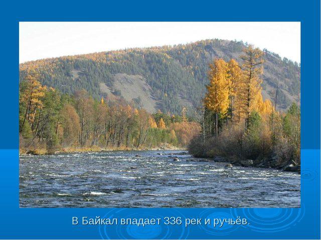 В Байкал впадает 336 рек и ручьёв.