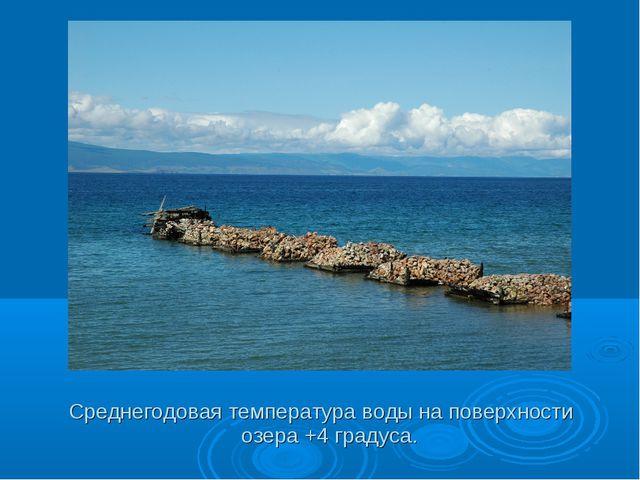 Среднегодовая температура воды на поверхности озера +4 градуса.