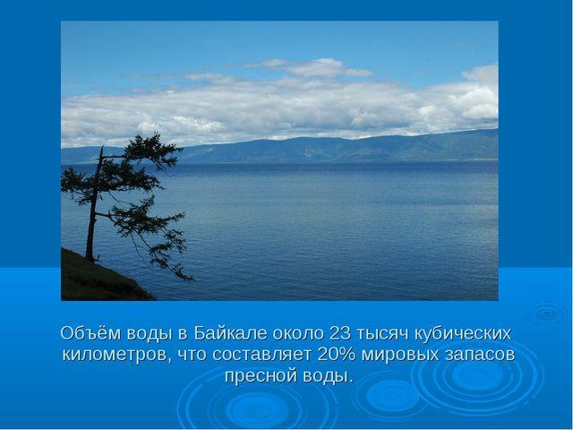 Объём воды в Байкале около 23 тысяч кубических километров, что составляет 20...