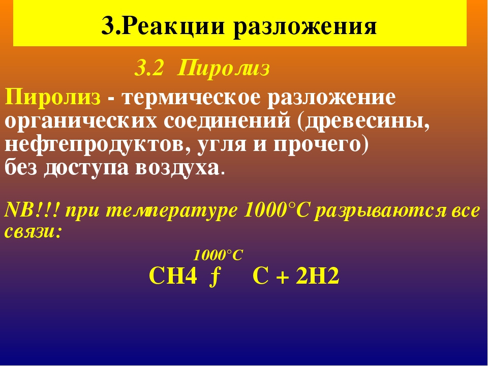 3.Реакции разложения Пиролиз - термическое разложение органических соединений...