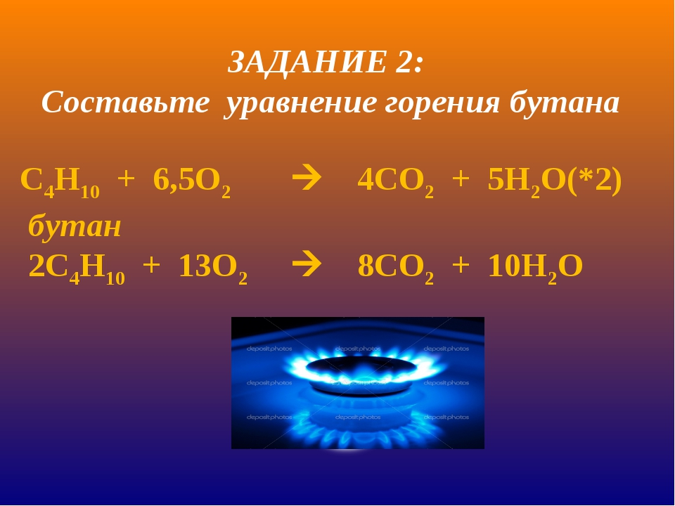 С4Н10 + 6,5О24СО2 + 5Н2О(*2) бутан 2С4Н10 + 13О28СО2 + 10Н2О ЗАДАНИЕ 2...