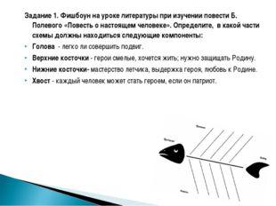 Задание 1. Фишбоун на уроке литературы при изучении повести Б. Полевого «Пове