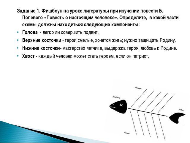 Задание 1. Фишбоун на уроке литературы при изучении повести Б. Полевого «Пове...