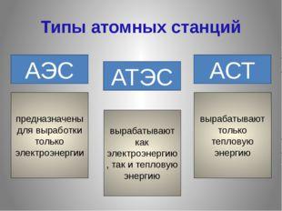 Типы атомных станций АЭС АТЭС АСТ предназначены для выработки только электроэ