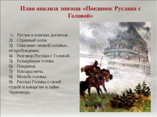 1) Руслан в поисках доспехов. 2) Странный холм. 3) Описание «живой г