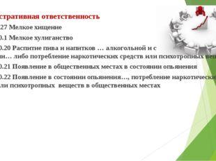 Административная ответственность Статья 7.27 Мелкое хищение Статья 20.1 Мелк