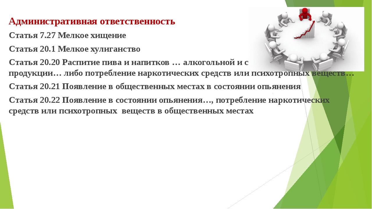 Административная ответственность Статья 7.27 Мелкое хищение Статья 20.1 Мелк...