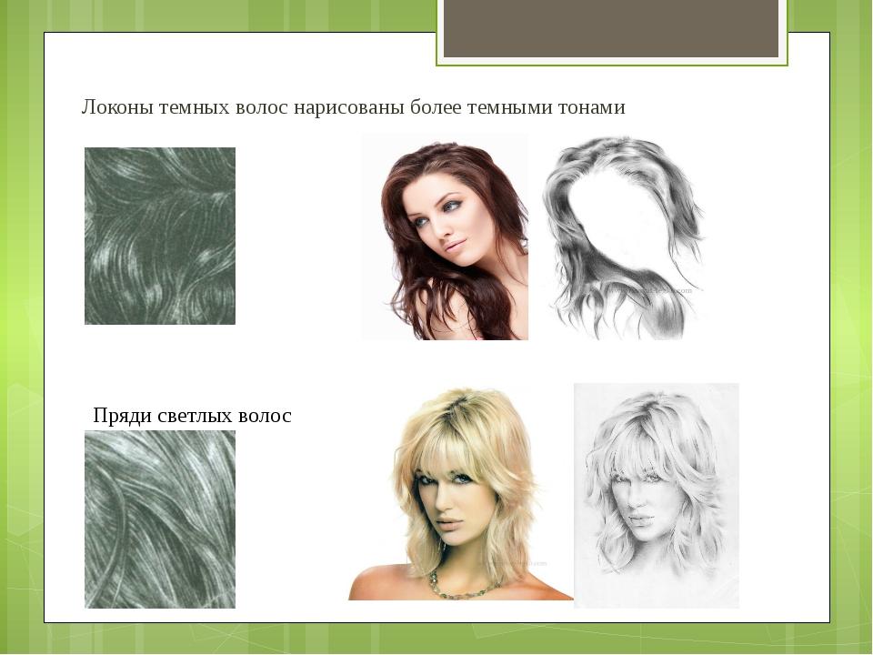 Локоны темных волос нарисованы более темными тонами Пряди светлых волос