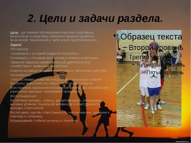 2. Цели и задачи раздела. Цель - достижения обучающимися высоких спортивных...