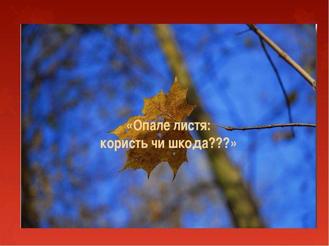 «Опале листя: користь чи шкода???»