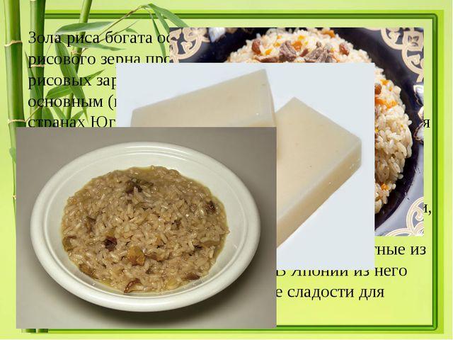 Зола риса богата особенно фосфорной кислотой. Из рисового зерна производятся...