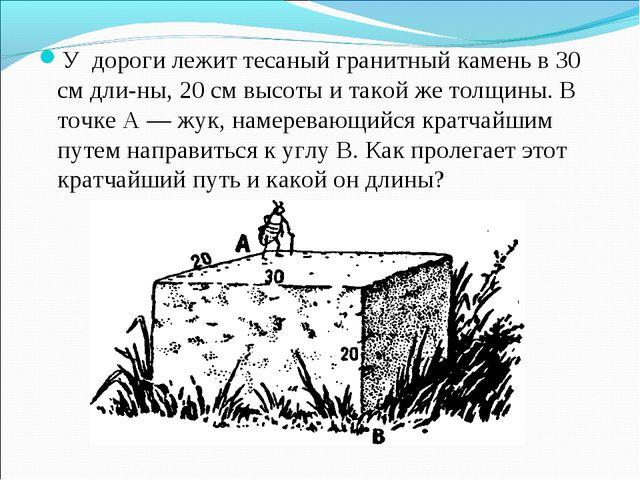У дороги лежит тесаный гранитный камень в 30 см длины, 20 см высоты и такой...