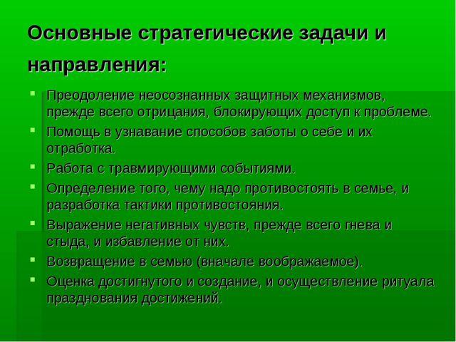 Основные стратегические задачи и направления: Преодоление неосознанных защитн...