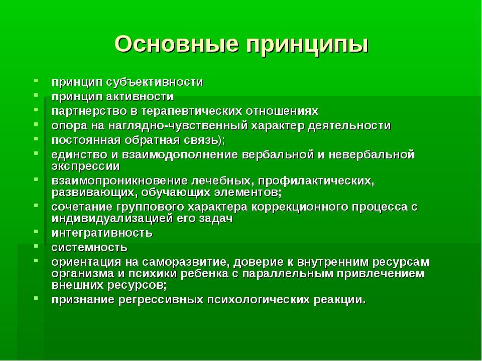 Основные принципы принцип субъективности принцип активности партнерство в тер...