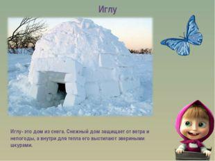 Иглу Иглу- это дом из снега. Снежный дом защищает от ветра и непогоды, а внут