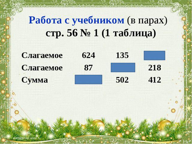 Работа с учебником (в парах) стр. 56 № 1 (1 таблица) * Слагаемое624135194...