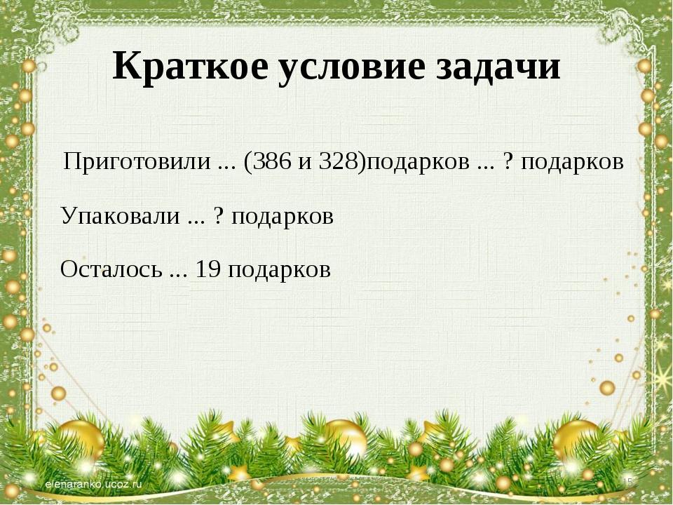 Краткое условие задачи Приготовили ... (386 и 328)подарков ... ? подарков Упа...