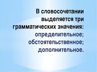 В словосочетании выделяется три грамматических значения: определительное; об