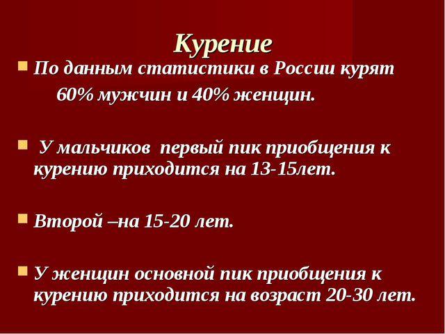 Курение По данным статистики в России курят 60% мужчин и 40% женщин. У мальчи...