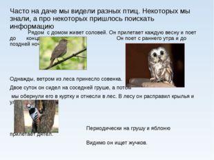 Часто на даче мы видели разных птиц. Некоторых мы знали, а про некоторых приш