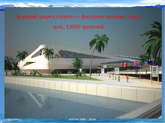 Ледовый дворец спорта— фигурное катание, шорт-трек, 12000 зрителей. «СОЧИ 20...