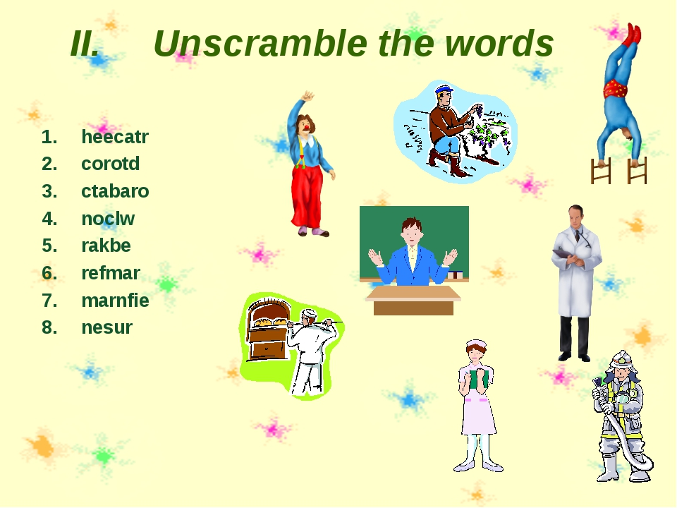Unscramble the words heecatr corotd ctabaro noclw rakbe refmar marnfie nesur
