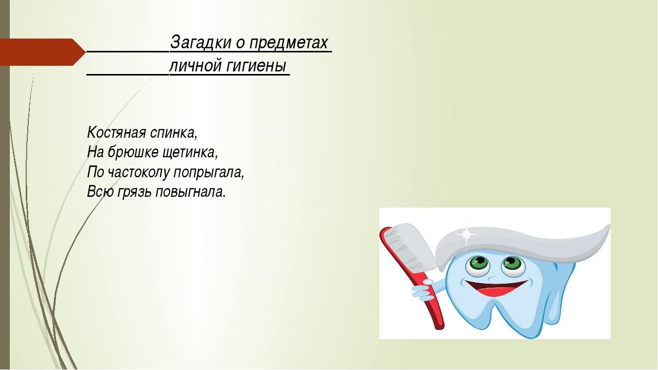 Загадки о предметах личной гигиены Костяная спинка, На брюшке щетинка, По...